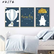 <b>Cartoon Bear</b> Balloon Canvas <b>Poster</b> Nurser Quotes <b>Print</b> Wall <b>Art</b> ...