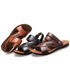 <b>Men's</b> Roma <b>Leather</b> Cut Out Beach Sandals <b>Outdoor Leisure</b> ...