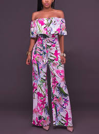 <b>Women's</b> Off Shoulder Wide Leg <b>Floral Daily</b> / Going out / Work Boat ...