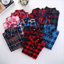2019 <b>Women</b> Blouse And Shirt 2019 <b>Spring Cotton Flannel Plaid</b> ...