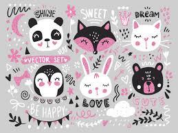 Big set with <b>cute</b> cartoon animals bear, panda, <b>bunny</b>, penguin, <b>cat</b> ...