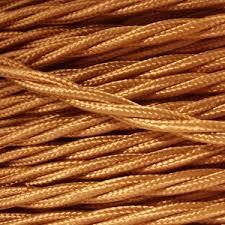 copper fabric lighting cable 3 core twist black fabric lighting