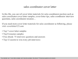 sales coordinator cover letter sales coordinator cover letter