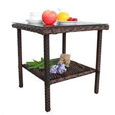 Garden & Patio Furniture Patio Rattan Low <b>Coffee Table Glass</b> Top ...