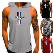 Ford Mustang Print popular <b>Men Plain Tank Top</b> Hoodie Fitness ...