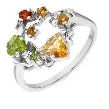 Купить <b>кольцо</b> из белого золота 585 пробы c <b>2 хризолитами</b> и 5 ...