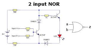digital logic gates just using transistors 2nor bmp