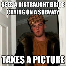 sees a distraught bride crying on a subway takes a picture ... via Relatably.com