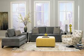 living room sofa ideas:  gray living room furniture ideas dark grey sofas with grey wall paint decorating also yellow bench
