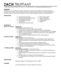 esthetician resume sample job and resume template cover letter cosmetology student sample