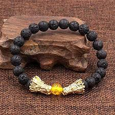 XIAOHA Men'S Bracelet <b>Natural</b> Black Lava &Amp; <b>White Stone</b> ...