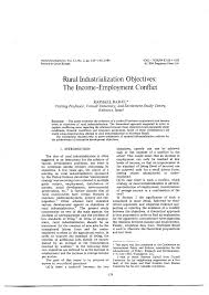 rural industrialization objectives the income employment conflict