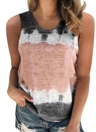 Color Block <b>Round Neck Sleeveless</b> Casual T-shirts - Floryday