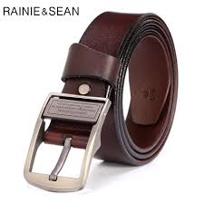 <b>RAINIE SEAN</b> Man Belt Leather Pin Buckle <b>Genuine Leather</b> Belts ...