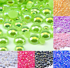 <b>500Pcs Mixed 2 10mm</b> Green AB Half Round Pearl Beads Craft ...