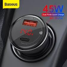<b>Baseus Dual</b> Quick Charging Car Charger All <b>Metal</b> Digital <b>Display</b> ...