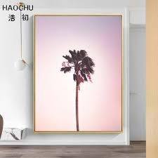 HAOCHU <b>Nordic Poster</b> Pink <b>Ocean</b> Landscape <b>Painting</b> Coconut ...