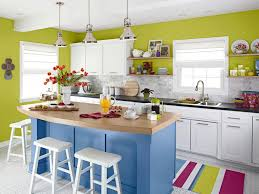 blue kitchen cabinets small painting color ideas: kitchen charming small kitchen decoration combine blue kitchen island and white kitchen cabinet also green painted wall plus stripes colorful rug feat