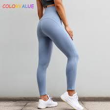 <b>Colorvalue</b> High Waisted Running Sport <b>Leggings</b> Women Plain ...