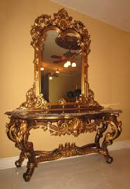 dining room table mirror top: french baroque rococo gold leaf gilt carved marble top console table mirror jpg