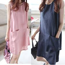 <b>Korean Style Women</b> Cotton Linen Summer Pockets <b>Sleeveless</b> ...