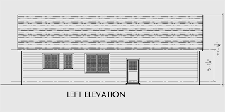 Single Level House Plans  One Story House Plans  Great Room HouseHouse side elevation view for Single level house plans  one story house plans