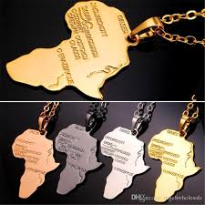 <b>U7</b> Africa Map <b>Pendant Necklace</b> Platinum 18K Real Rose Gold B...
