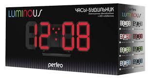 Купить <b>Часы</b>-будильник LED <b>Perfeo Luminous</b> PF-663 черные по ...