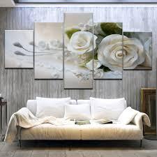 <b>5 Panel HD Printed</b> Wedding white rose flower modern wall posters ...