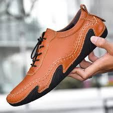 BIMUDUIYU Plus Size <b>Men Casual Shoes</b> Genuine Leather ...
