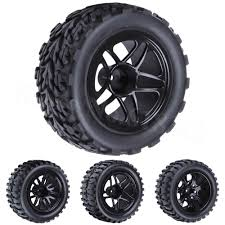 <b>4Pcs RC Rubber Tires</b> & Wheel Rims Sponge Inserts for RC 1/10 ...