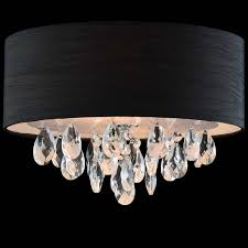 picture of 14 struttura modern crystal round flush mount double shade black fabric 3 lights black fabric lighting