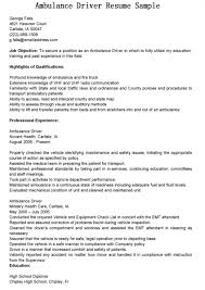 ambulance driver resume examples sample resumes ambulance driver resume examples