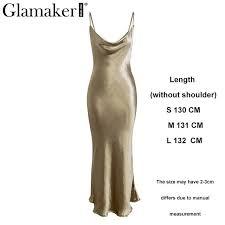 Glamaker Satin gold backless <b>sexy</b> bodycon <b>long dress Women</b> ...