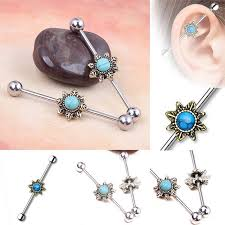 body punk 1 pc luxury brand piercing jewelry silver rose gold with clear cz flower shape curved bar cartilage earrings stud