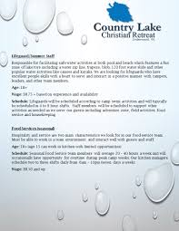 job opportunities country lake christian retreat an online application can be accessed by clicking here an application can also be printed for submission here country lake job application
