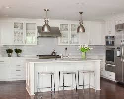 Delighful Ann Sacks Glass Tile Backsplash Midsized Transitional Ushaped Open Concept Kitchen Idea Inside Design