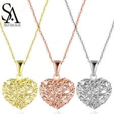 <b>SA SILVERAGE 18K Rose</b> Gold/White Gold/Yellow Gold Heart ...