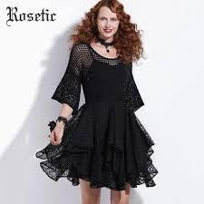 <b>Rosetic</b> Gothic <b>Vintage Dress Women</b> Autumn Black Lace Hollow ...