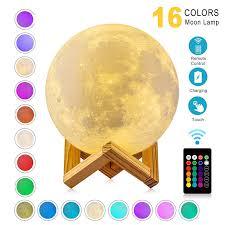 <b>ZK20 LED Night Light</b> 3D Print Moon Lamp 16 Colors Rechargeable ...