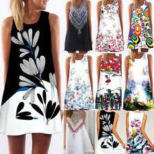 Women <b>Sleeveless Summer</b> Boho Printed <b>Beach</b> Casual Loose Mini ...