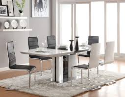 black and white dining table set: modern dining sets in black and white theme with black upholstered dining chair and silver