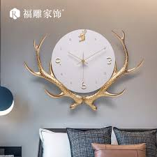 Large Luxury Wall Clock Deer <b>Metal Creative Big</b> Gold Wall Clocks ...