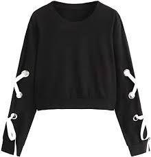 SweatyRocks Women's Casual <b>Lace Up</b> Long Sleeve Pullover Crop ...