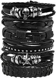 Milakoo Braided Leather Bracelet for Men Punk Rock ... - Amazon.com
