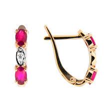 Золотые <b>серьги с бриллиантами</b> и <b>рубинами</b> ЮЫ1002900023475