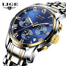 <b>Lige Men</b> Luxury Chronograph Steel Quartz <b>Relogio Masculino</b> ...