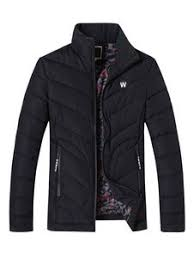 <b>Black Quilted Jacket</b> Men's Zip Up <b>Padded</b> Puffer Coat For Winter ...