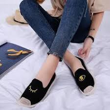 Veowalk Lotus Embroidered <b>Women</b> Canvas Flat Slide <b>Slippers</b> ...