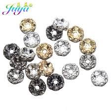 Juya <b>100pcs</b>/<b>lot Metal</b> Spacer Beads Clear Rhinestones Flower ...